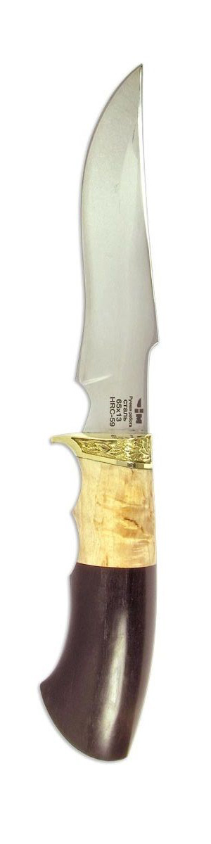 Нож охотничий Ножемир Кардинал, нержавеющая сталь, с ножнами, общая длина 27,1 смКАРДИНАЛ (2015)нРедко какая модель ножа может сочетать в себе такие уникальные рабочие характеристики, как Ножемир Кардинал. Клинок этой модели, выполненный из высококачественной нержавеющей стали, оснащен упором на обухе, что обеспечивает удобный тактический хват. Выгнуто-вогнутая форма режущей кромки обеспечивает отличную работу по материалам различной плотности. Ножи с такой формой клинка пользуются заслуженной популярностью среди туристов и охотников. Рукоять выполнена из натурального дерева венге и обмотана берестой.Общая длина ножа: 27,1 см.