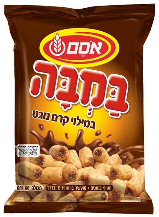 Bamba кукурузно-арахисовые палочки с начинкой крем нугат, 60 г6923634Bamba позиционируется как здоровый снек, содержание арахиса и фундука составляет 33%. К тому же Bamba не содержит глютена. Британские и американские исследования показали, что употребление этого снека предотвращает появление аллергии на арахис. Бамба - это снек, более всего продающийся в Израиле. 90% израильских семей покупают бамбу на постоянной основе.