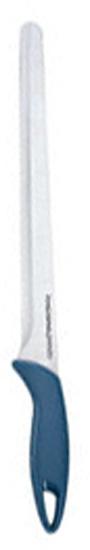 """Нож для ветчины """"Tescoma"""" - это изделие с максимальным акцентом на первоклассный  дизайн и качество, изготовленное из  высококачественной нержавеющей стали и пластика. Специально отшлифованное фасонное  острие служит для достижения максимального  эффекта при резке.   Длина ножа: 35 см.  Длина лезвия: 24 см."""