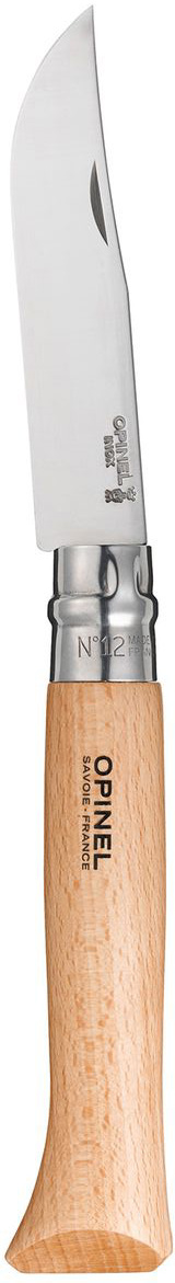 Нож Opinel n°12 нержавеющая сталь 0010841084Нож Opinel n°12 с лезвием из нержавеющей стали. Идеальный карманный нож для пикника, барбекю, походов, охоты и рыбалки. Нержавеющая сталь не требует ухода, но ее сложнее заточить до нужной остроты. Viroblock - оригинальное запорное устройство, представляющее собой кольцо с прорезью, которое, будучи повернуто относительно оси ножа, упирается в пятку клинка и не дает ножу самопроизвольно складываться при работе или раскладываться в кармане. Конструкция эта защищена патентом и устанавливается на ножи Opinel с 1955 года, начиная с модели n°6.Характеристики ножа:Материал лезвия: сталь Sandvik 12C27Материал рукояти: букТип ножевого замка: ViroblockПриспособление для открытия клинка: насечка на лезвииДлина лезвия, см: 12Длина ножа, см: 28Ширина лезвия, см: 2,4Длина в сложенном положении, см: 16Вес, г: 115