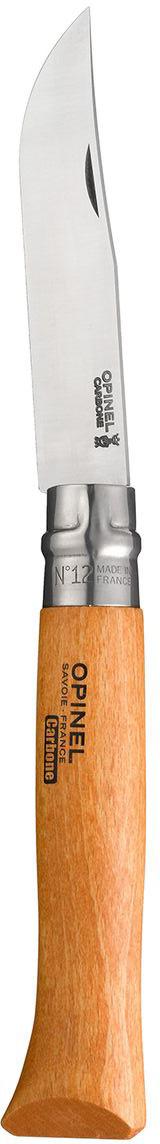 Нож Opinel n°12 углеродистая сталь 113120113120Нож Opinel n°12 с лезвием из углеродистой стали. Идеальный карманный нож для пикника, барбекю, походов, охоты и рыбалки. Углеродистая сталь ножа менее устойчива к корозии, на ней могут появиться пятна и разводы от лимонной кислоты, зато ее легко и быстро заточить. Viroblock - оригинальное запорное устройство, представляющее собой кольцо с прорезью, которое, будучи повернуто относительно оси ножа, упирается в пятку клинка и не дает ножу самопроизвольно складываться при работе или раскладываться в кармане. Конструкция эта защищена патентом и устанавливается на ножи Opinel с 1955 года, начиная с модели n°6.Характеристики ножа:Материал лезвия: сталь XC90 CarbonМатериал рукояти: букТип ножевого замка: ViroblockПриспособление для открытия клинка: насечка на лезвииДлина лезвия, см: 12Длина ножа, см: 28Ширина лезвия, см: 2,4Длина в сложенном положении, см: 16Вес, г: 120