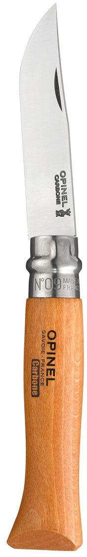 Нож Opinel n°9 углеродистая сталь 113090113090Нож Opinel n°9 с лезвием из углеродистой стали. Идеальный карманный нож для пикника, барбекю, походов, охоты и рыбалки. Углеродистая сталь ножа менее устойчива к корозии, на ней могут появиться пятна и разводы от лимонной кислоты, зато ее легко и быстро заточить. Viroblock - оригинальное запорное устройство, представляющее собой кольцо с прорезью, которое, будучи повернуто относительно оси ножа, упирается в пятку клинка и не дает ножу самопроизвольно складываться при работе или раскладываться в кармане. Конструкция эта защищена патентом и устанавливается на ножи Opinel с 1955 года, начиная с модели n°6.Характеристики ножа:Материал лезвия: сталь XC90 CarbonМатериал рукояти: букТип ножевого замка: ViroblockПриспособление для открытия клинка: насечка на лезвииДлина лезвия, см: 9Длина ножа, см: 20,5Ширина лезвия, см: 1,9Длина в сложенном положении, см: 11,8Вес, г: 56
