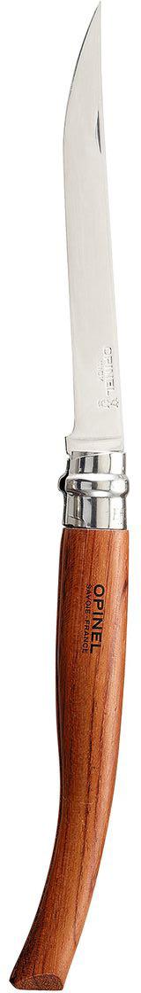 Нож Opinel филейный n°12 нержавеющая сталь 00001111Нож филейный Opinel n°12 с лезвием из нержавеющей стали. Узкое тонкое лезвие позволяет легко нарезать куски мяса, птицы или рыбы. Нержавеющая сталь не требует ухода, но ее сложнее заточить до нужной остроты. Viroblock - оригинальное запорное устройство, представляющее собой кольцо с прорезью, которое, будучи повернуто относительно оси ножа, упирается в пятку клинка и не дает ножу самопроизвольно складываться при работе или раскладываться в кармане. Конструкция эта защищена патентом и устанавливается на ножи Opinel с 1955 года, начиная с модели n°6.Характеристики ножа:Материал лезвия: сталь Sandvik 12C27Материал рукояти: бубингаТип ножевого замка: ViroblockПриспособление для открытия клинка: насечка на лезвииДлина лезвия, см: 12Длина ножа, см: 27Ширина лезвия, см: 1,4Длина в сложенном положении, см: 14,5Вес, г: 50Вес ножа с упаковкой, 60