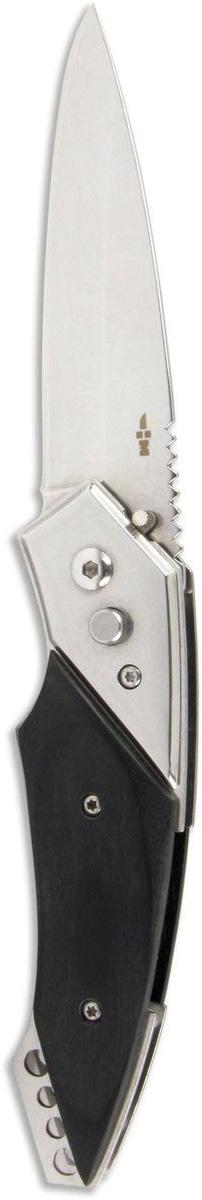 Нож складной автоматический Ножемир Четкий расклад, нержавеющая сталь, общая длина 20 см. A-132A-132Складной автоматический нож Ножемир Четкий расклад пригодится в походе, на пикнике или дома. Лезвие с зеркальной полировкой выполнено из нержавеющей стали 40Х13, рукоятка - из прочного стабилизированного дерева. Лезвие открывается автоматически при нажатии на кнопку. Фиксатор не дает ножу закрыться. В сложенном виде нож занимает минимум места и с легкостью помещается даже в карман. Клипса позволяет носить нож на ремне.Общая длина ножа: 20 см.