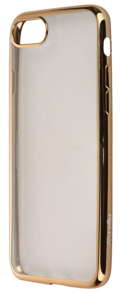 Celly Laser чехол-накладка для Apple iPhone 7/8, Gold ClearLASER800GDЧехол-накладка Celly Laser для Apple iPhone 7 обеспечивает надежную защиту корпуса смартфона от механических повреждений и надолго сохраняет его привлекательный внешний вид. Накладка выполнена из высококачественного материала, плотно прилегает и не скользит в руках. Чехол также обеспечивает свободный доступ ко всем разъемам и клавишам устройства.
