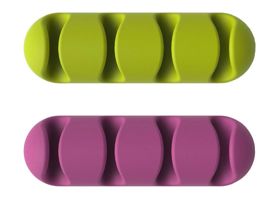 Bluelounge CableClip Multi, Violet Green держатели для проводов, 2 шт аксессуар комплект bluelounge cabledrop cd br yellow pink green