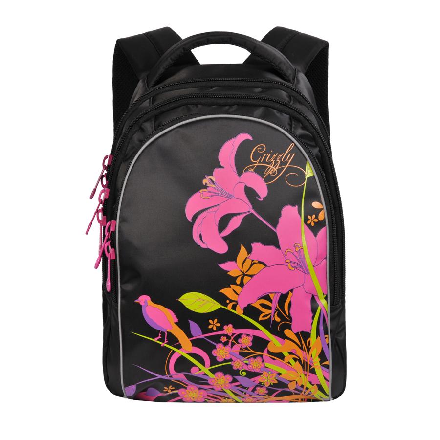 Grizzly Рюкзак цвет черный RG-657-1OM-677-2/2Рюкзак Grizzly - это красивый и удобный рюкзак, который подойдет всем, кто хочет разнообразить свои школьные будни.Рюкзак выполнен из плотного материала и оформлен оригинальным принтом. Рюкзак имеет три основных отделения, закрывающиеся на застежки-молнии. Рюкзак оснащен удобной текстильной ручкой для переноски в руке, а также дополнен светоотражающими вставками. Мягкие укрепленные лямки регулируются по длине.
