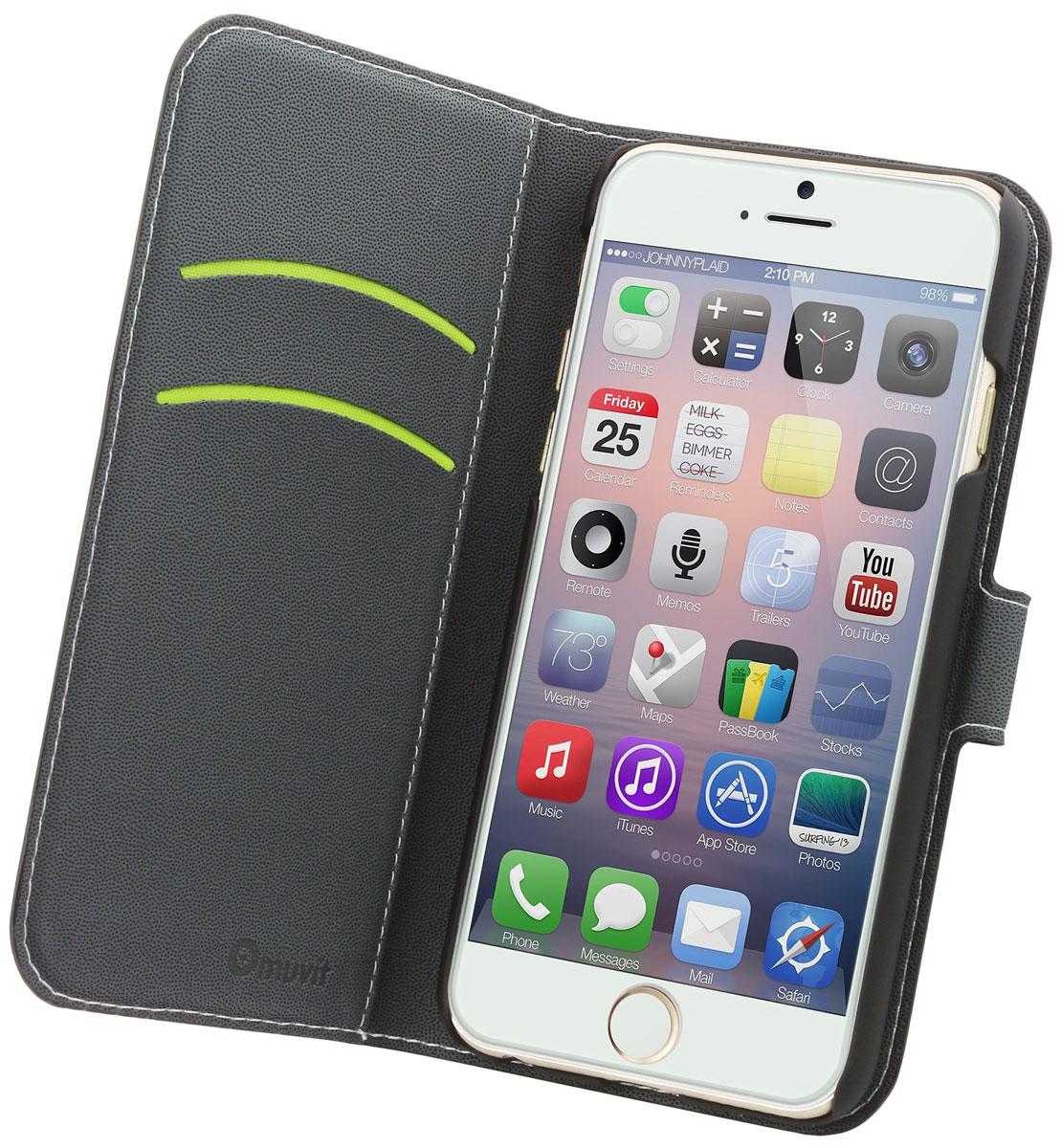 Muvit Wallet Folio Stand Case чехол для Apple Iphone 6/6S, BlackMUSNS0048Чехол-книжка Muvit Wallet Folio Stand Case для Apple iPhone 6/6s обеспечивает надежную защиту корпуса и экрана смартфона от механических повреждений и надолго сохраняет его привлекательный внешний вид. Выполнена из высококачественного материала, плотно прилегает и не скользит в руках. Чехол также обеспечивает свободный доступ ко всем разъемам и клавишам устройства.