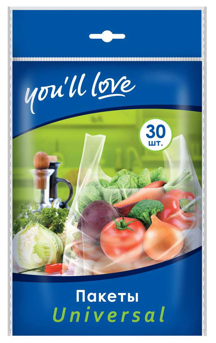 Пакеты You`ll love Universal, 21 х 46 см, 30 шт61150Пакеты You`ll love Universal изготовлены из полиэтилена низкого давления, нетоксичного материала. Пакеты предназначены для хранения и транспортировки овощей, фруктов и других продуктов. Они оснащены удобными ручками для переноски. Пакеты декорированы изображением различных продуктов. Пакеты You`ll love Universal станут незаменимыми в хозяйстве. Размер пакетов: 21 см х 46 см.