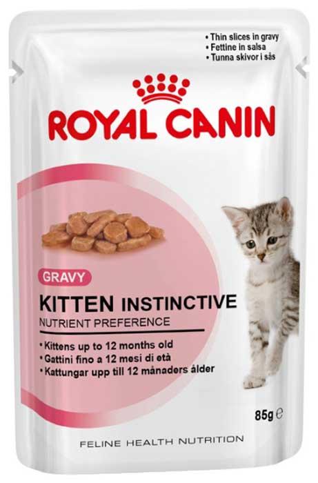 Консервы Royal Canin Kitten Instinctive, для котят, мелкие кусочки в соусе, 85 г17521Консервы Royal Canin Kitten Instinctive - полнорационный влажный корм для котят с 4 до 12 месяцев.Котенок во 2-й фазе роста продолжает расти, только рост происходит не так активно, как в 1-й фазе, поэтому:- Он предпочитает специальную формулу Macro Nutritional Profile. - Укрепляется костная ткань котенка. Потребность котенка в энергии остается высокой, хотя и несколько меньшей, чем у котят 1-й фазы роста. - У котят прорезаются постоянные зубы.- Котенок 2-й фазы роста уже обладает собственной иммунной системой, однако его естественные защитные силы пока остаются уязвимыми. Пищевое предпочтение котят.Корм Kitten Instinctive имеет тщательно сбалансированную рецептуру, соответствующую оптимальной формуле Macro Nutritional Profile, инстинктивно предпочитаемой котятами во 2-й фазе роста.Легкое пережевывание.Размер и текстура кусочков корма идеально адаптированы для челюстей котенка. Естественная защита.Корм Kitten Instinctive помогает формированию естественной защитной системы организма котенка, стимулируя выработку антител благодаря маннановым олигосахаридам и комплексу антиоксидантов (витаминам E и C, таурину и лютеину). Состав: мясо и мясные субпродукты, злаки, экстракты белков растительного происхождения, субпродукты растительного происхождения, молоко и продукты его переработки, масла и жиры, минеральные вещества, дрожжи, углеводы.Добавки (в 1 кг): Витамин D3: 250 ME, Железо: 1,4 мг, Марганец: 0,44 мг, Цинк: 4,4 мг. Товар сертифицирован.Уважаемые клиенты!Обращаем ваше внимание на возможные изменения в дизайне упаковки. Качественные характеристики товара остаются неизменными. Поставка осуществляется в зависимости от наличия на складе.