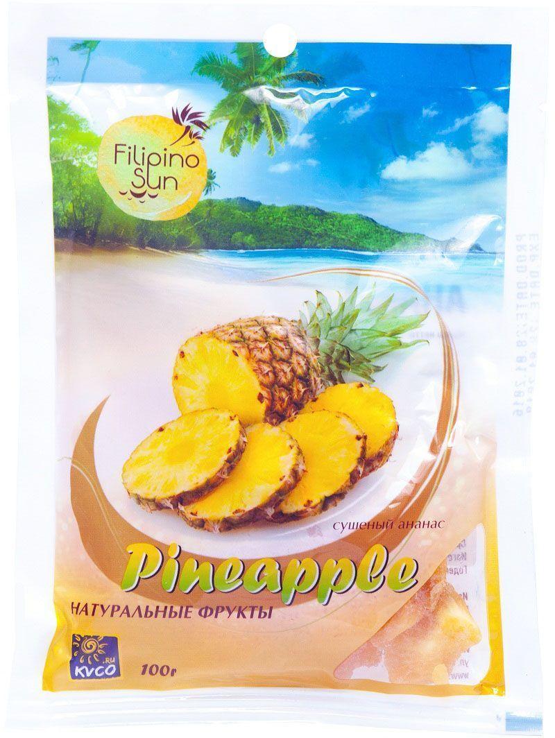 Filipino Sun сушеный ананас, 100 гTMFSAN100Ананас – природный энергетик, дарящий необыкновенный прилив бодрости и хорошего настроения, содержащий комплекс витаминов, минералов, кислот и микроэлементов.