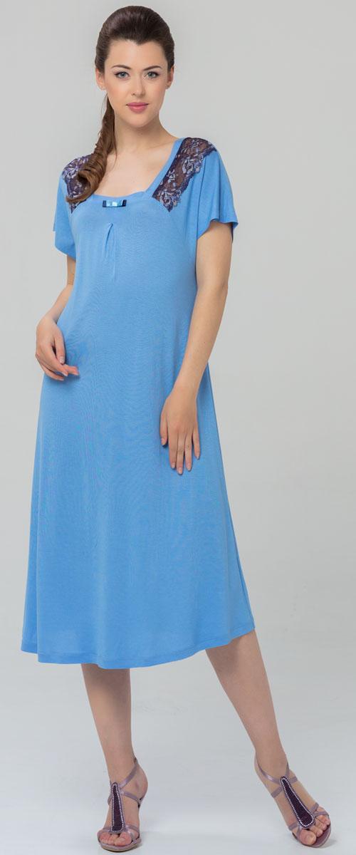 Ночная рубашка женская Tesoro, цвет: голубой. 459С1. Размер 50459С1Женская ночная сорочка Tesoro изготовлена из нежного вискозного полотна. Изделие свободного кроя декорировано мягким кружевом.
