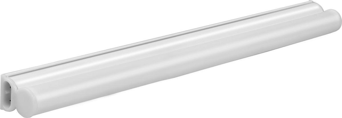 """Линейный светодиодный светильник REV """"T5 Line"""" послужит  превосходной альтернативой люминесцентным  светильникам. Его можно использовать в жилых, рабочих и  офисных помещениях.  Такие осветительные приборы способны сделать жилье  уникальным, все зависит исключительно от фантазии  владельцев. Они обеспечивают и основное, и  дополнительное локализованное освещение, служат в  качестве отличной декоративной подсветки, например,  мебели, витрин, антресолей и так далее. Красивые и универсальные линейные светильники —  идеальное решение для кухонь и ванных комнат, для  подсветки зеркал или картин.  Коннектор для жесткого и гибкого соединения светильников  в линию в комплекте.  Способ установки: накладной настенно-потолочный. Степень защиты: IP20. Световой поток: 700 Лм.  Средний срок службы: 30000 часов.  Цветовая температура: 6500 К.  Коэффициент цветопередачи: >70.  Угол освещения: 120°.  Напряжение питания: 220 В.  Рабочая температура: -20°+45°С."""