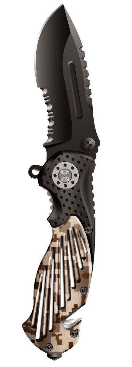 Нож складной Stinger SA580DC, цвет: черный, камуфляж, 8,4 см