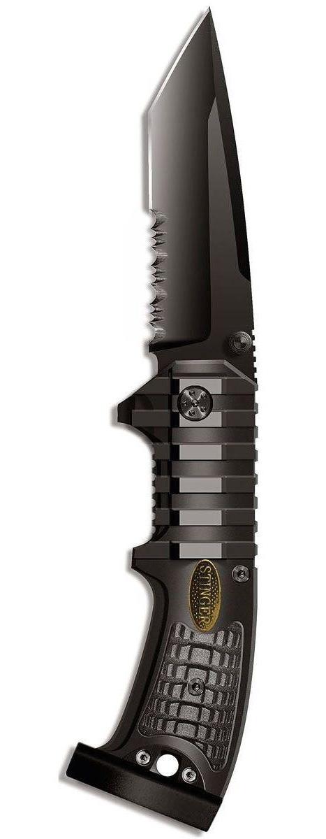 Нож складной Stinger SA-583B, цвет: черный, 9 см нож складной stinger sa580dc цвет черный камуфляж 8 4 см