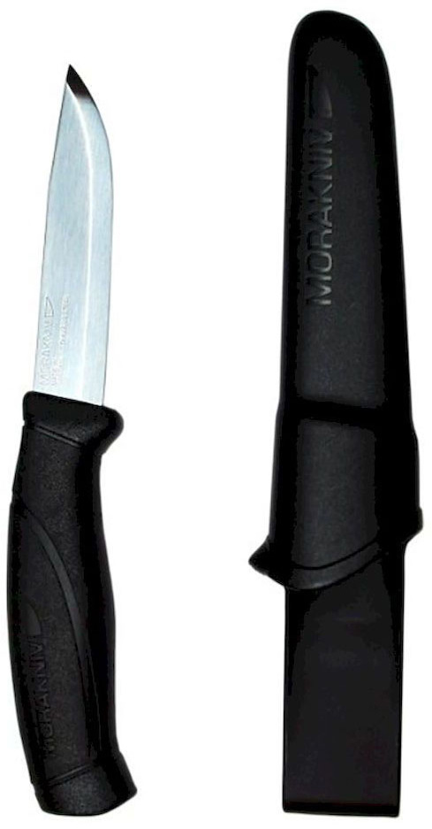 Нож туристический Morakniv Companion, цвет: черный, стальной, длина лезвия 10,3 см12141Туристический нож Morakniv Companion - это качественный и надежный походный аксессуар. Лезвие ножа изготовлено из высококачественной шведской нержавеющей стали, что позволило использовать данный нож во влажной среде. Эргономичная рукоятка позволит производить длительные и интенсивные работы с данным ножом. При этом вы не заработаете мозоли. Благодаря цветным вставкам в ручку, если он выпадет в траву, вы с легкостью его найдете. Тем самым уменьшится вероятность потери ножа. Нож оснащен превосходно выполненным чехлом (ножнами). Их вы сможете повесить на ремень благодаря специальному креплению. А фиксатор, который установлен в ножнах, не даст выпасть ножу, даже если вы будете носить его вертикально.Общая длина ножа: 21,8 см.