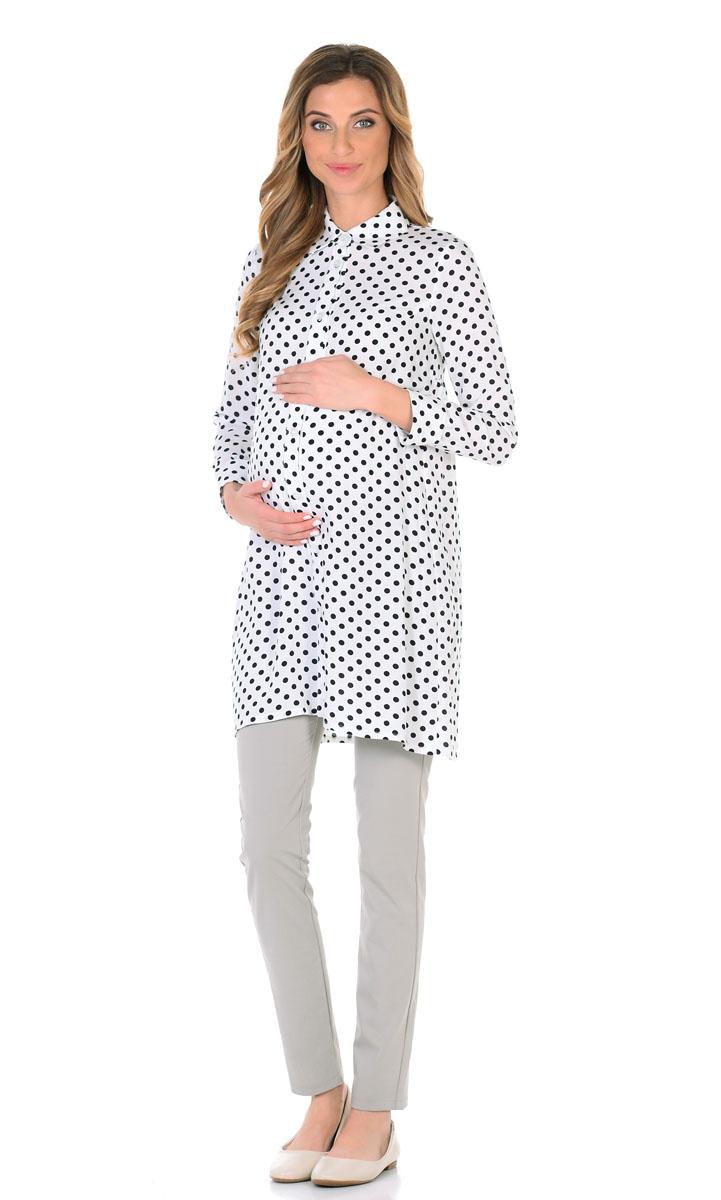 Блузка для беременнных и кормящих Nuova Vita, цвет: белый, черный. 1602.01. Размер 44
