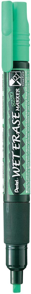 Pentel Маркер меловой Wet Erase двусторонний цвет зеленыйPSMW26-DМеловой маркер на водной основе Pentel Wet Erase.Безопасные, не содержащие кислот чернила маркера идеально ложатся на сухие гладкие поверхности, такие как стекло, металл, зеркало, пластик. Легко стираются влажной тканью. Надписи не текут при попадании на них влаги, идеально подходят для декорирования стекла в машине или дома. Маркер имеет двусторонний фибровый наконечник (пулеобразный/скошенный).Перед использованием вставьте наконечник нужной стороной. Наконечник легко меняется с помощью клипа-пинцета на колпачке или рукой.Маркер не подходит для меловых черных школьных досок и для любых пористых поверхностей!