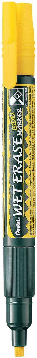 Pentel Маркер меловой Wet Erase двусторонний цвет желтый1088361Меловой маркер на водной основе Pentel Wet Erase.Безопасные, не содержащие кислот чернила маркера идеально ложатся на сухие гладкие поверхности, такие как стекло, металл, зеркало, пластик. Легко стираются влажной тканью. Надписи не текут при попадании на них влаги, идеально подходят для декорирования стекла в машине или дома. Маркер имеет двусторонний фибровый наконечник (пулеобразный/скошенный).Перед использованием вставьте наконечник нужной стороной. Наконечник легко меняется с помощью клипа-пинцета на колпачке или рукой.Маркер не подходит для меловых черных школьных досок и для любых пористых поверхностей!