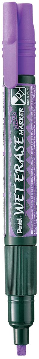 Pentel Маркер меловой Wet Erase Marke двусторонний цвет фиолетовыйPSMW26-VМеловой маркер на водной основе Pentel Wet Erase Marker Chalk.Безопасные, не содержащие кислот чернила маркера идеально ложатся на сухие гладкие поверхности, такие как стекло, металл, зеркало, пластик. Легко стираются влажной тканью. Надписи не текут при попадании на них влаги, идеально подходят для декорирования стекла в машине или дома. Маркер имеет двусторонний фибровый наконечник (пулеобразный/скошенный).Перед использованием вставьте наконечник нужной стороной. Наконечник легко меняется с помощью клипа-пинцета на колпачке или рукой.Маркер не подходит для меловых черных школьных досок и для любых пористых поверхностей!