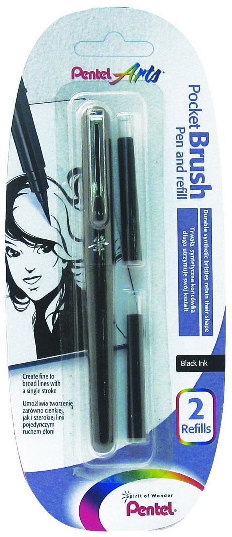 Pentel Ручка-кисть для каллиграфии Brush Pen цвет черный + 2 картриджаXGFKP/FP10Ручка-кисть Pocket Brush Pen для каллиграфии и быстрого рисунка - первоклассный инструмент для художника! Нарядный лаковый корпус, оформленный японским иероглифом. Защитный колпачок с металлическим клипом. Яркие черные пигментные чернила. Долговечная нейлоновая кисть позволяет создавать любые по толщине линии. Кисть поставляется в комплекте с двумя запасными картриджами.