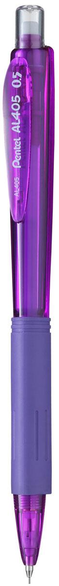 Pentel Карандаш механический цвет корпуса фиолетовыйPAL405-VКомфортный и надежный карандаш Pentel с трехгранной мягкой зоной захвата.Карандаш имеет прочный корпус из матового пластика зеленого цвета и металлическую убирающуюся цангу.Под колпачком карандаша находится ластик.