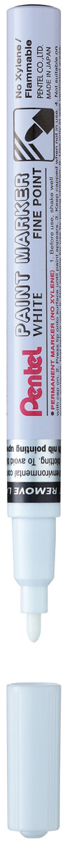 Pentel Маркер перманентный Paint Marker Fine цвет белыйPMSP10-WБыстросохнущий маркер-краска Pentel Paint Marker Fine с плотной текстурой надписи подходит для письма на резине, металле, стекле, пластике. Изделие предназначено для декорирования различных предметов.Маркер имеет металлический противоударный корпус и тонкий игловидный наконечник.Толщина линии: 2,9 мм.