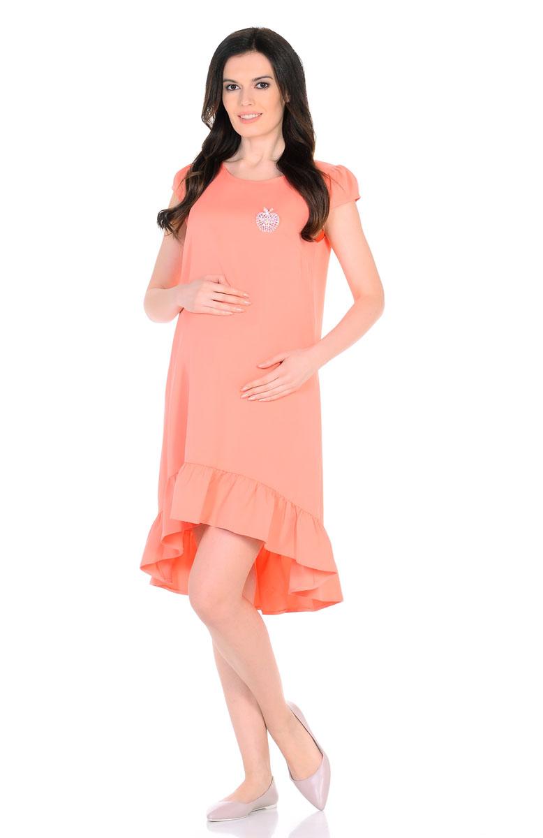 Платье для беременнных и кормящих Nuova Vita, цвет: персиковый. 2158.03. Размер 442158.03Красивое летнее платье для беременных поможет будущей маме подчеркнуть всю привлекательность этого волшебного периода, улучшит настроение и подарит массу приятных эмоций. Очаровательное и модное платье, с ассиметричным подолом, отрезным широким воланом по низу и рукавами-фонариками. Эта замечательная модель послужит вам как на любом сроке беременности, так и после рождения малыша, деликатно скрывая временные несовершенства фигуры. Ткань обладает приятной прохладой, в ней вам не будет жарко летом даже в самый знойный день. Платье отличается высоким качеством, в нем вы будете себя чувствовать максимально комфортно. Также к платью прилагаетсяброшь-яблоко из разноцветных страз.