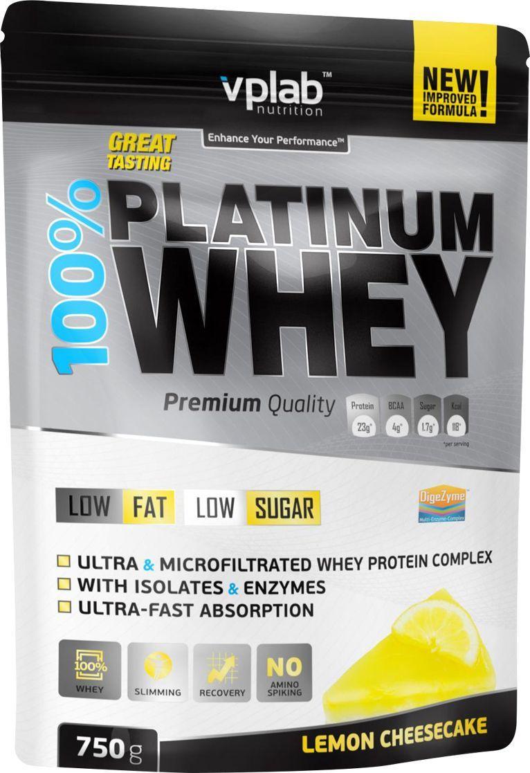 Протеин VP Laboratory 100% Платинум Вей, лимонный чизкейк, 750 гVP54414Комбинация ультрафильтрованного концентрата и микрофильтрованного изолята сывороточного протеина.Обогащен комплексом пищеварительных ферментов DigeZyme.No amino spiking - без добавления дешевых аминокислот в свободной форме.Сывороточный протеин получен из молока коров травяного откорма.Высокое содержание незаменимых аминокислот и сверхбыстрое усвоение.Низкое содержание жира и сахара.Великолепный вкус, даже при приготовлении на воде.100% Platinum Whey - это новый стандарт для сывороточных протеинов. Продукт произведён при использовании самых передовых технологий и соответствует всем мировым стандартам качества. Это исключительный протеин премиум класса с великолепным вкусом!В состав продукта входит комбинация из ультрафильтрованного концентрата и микрофильтрованного изолята сывороточного протеина, полученного из молока коров травяного откорма. Протеин имеет наивысшую биологическую ценность, быстро активизирует и усиливает рост мышц, помогает поддерживать чистую мышечную массу. А уникальный комплекс ферментов от DigeZyme (комплекс энзимов от Sabinsa Corporation (США)) обеспечит полное расщепление и усвоение белков. Кроме того, эти ферменты устойчивы к желудочному соку, что позволяет им не терять своих свойств в кислой среде.Ряд производителей добавляют в продукт аминокислоты с низкой биологической ценностью (глицин, таурин, глютамин и т.д.) с целью повысить содержание протеина, выносимое на упаковку продукта, а также удешевить продукт в производстве. Продукт от VP Laboratory не содержит отдельно добавленных дешевых аминокислот и его аминокислотный профиль полностью идентичен профилю молочной сыворотки.Продукт идеально подойдет людям, ведущим активный образ жизни и занимающимся в тренажерном зале. Низкое содержание жиров и углеводов позволит вам сделать 100% Platinum Whey неотъемлемой частью вашего рациона.Товар не является лекарственным средством.Товар не рекомендован для лиц младше 18 лет.Могут бы