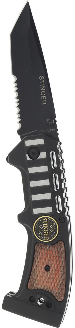 Нож складной Stinger SA-583W, цвет: черный, 9 см6900000431474Нож Stinger SA-583W всегда найдет себе применение на даче или в гараже, на рыбалке или охоте. Малые габариты делают его удобным при частой транспортировке. Лезвие выполнено из высококачественной нержавеющей стали. В открытом состоянии нож фиксируется при помощи замка Liner Lock, что значительно повышает безопасность. Благодаря особой форме ручки Stinger SA-583W можно открывать одной рукой. Данная модель имеет полусерейторную заточку, что позволяет отлично резать плотную ткань, канаты и другие волокнистые материалы. Характеристики: Материал: металл. Длина лезвия: 9 см. Размер ножа в сложенном виде: 11,5 см х 4 см х 2 см. Размер в упаковке: 13,5 см х 5,5 см х 2,5 см.