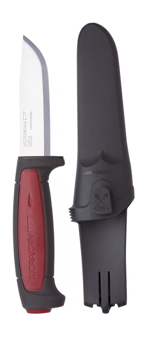 Нож туристический Morakniv Pro C, цвет: красный, черный, стальной, длина лезвия 9,1 см12243Morakniv Pro C - это многоцелевой нож скандинавского типа. Рукоять ножа выполнена в традиционной форме, обладает отличными антискользящими характеристиками. Клинок изготовлен из высокоуглеродистой стали, явным преимуществом которой является ее надежность. Заточка ножа держится очень долго. Основа рукояти выполнена из пластика, то есть сам клинок запаян в очень плотный пластик, а поверх пластика покрыта тонким резиновым слоем. Резина не позволяет рукояти скользить даже в мокрой руке. В комплекте имеются ножны (чехол) с клипсой в форме задвижки, которая фиксируется на ремне. Клипса на ремне держится очень хорошо, случайное соскакивание ножны во время активного движения практически исключено. Для отвода воды внизу ножен предусмотрено дренажное отверстие.Общая длина ножа: 20,6 см.