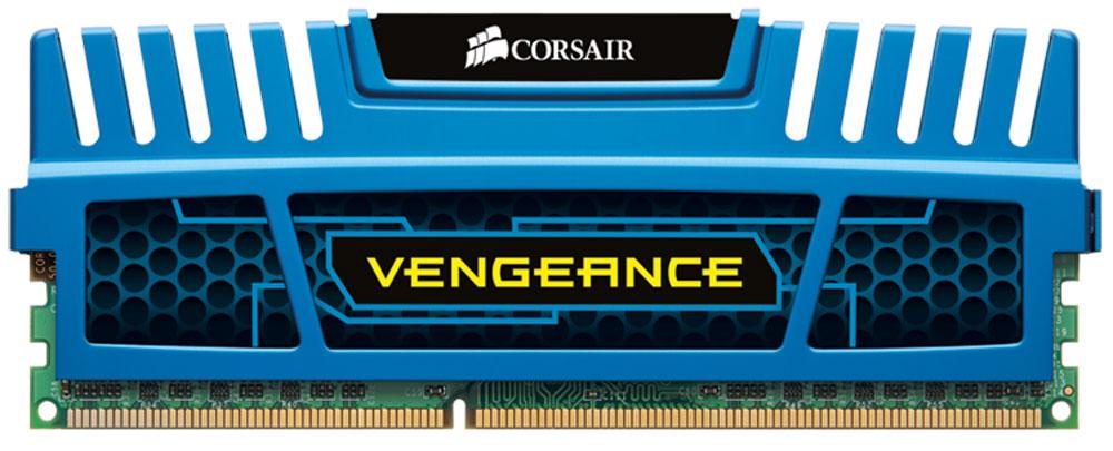 Corsair Vengeance DDR3 8Gb 1600 МГц, Blue модуль оперативной памяти (CMZ8GX3M1A1600C10B)CMZ8GX3M1A1600C10BМодуль Corsair Vengeance DDR3 разработан с учетом потребностей оверклокеров. В Vengeance DIMM используются микросхемы ОЗУ, отобранные специально для обеспечения высокого потенциала производительности. Алюминиевый радиатор модуля осуществляет теплоотвод и служит элементом агрессивного дизайна, который отлично подходит для геймерских компьютеров. Модуль памяти Vengeance специально разработан для новейших процессоров. Модуль Vengeance работает при напряжении 1,5 В, что обеспечивает максимальную совместимость со всеми процессорами Intel Core i3, i5 и i7, в том числе с процессорами семейства Intel 2-го поколения.
