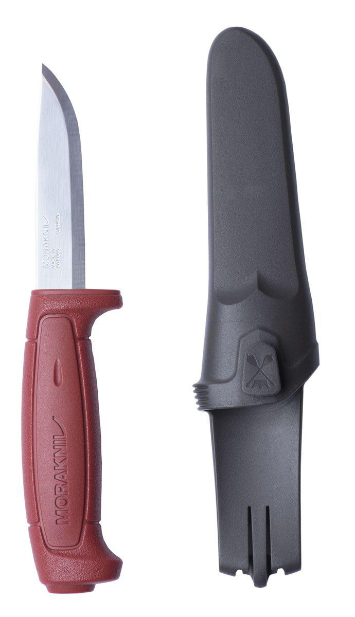 Нож туристический Morakniv Basic 511, цвет: красный, длина лезвия 9,1 см12147Туристический нож Morakniv Basic 511 относится к ножам нескладного типа и станет отличным приобретением как для любителя активного отдыха, так и для любого человека. Ведь, чтобы использовать его, не обязательно идти в поход, достаточно просто выехать за город на природу. Нож оснащен девятисантиметровым клинком прямой заточки и имеет форму drop-point, которая позволит ножу одинаково хорошо резать и колоть. Общая длина ножа немного превышает 20 см. Толщина лезвия в обухе составляет 2 мм, чего вполне хватает для выполнения поставленных задач.Для изготовления лезвия была применена нержавеющая сталь с добавлением углерода, что увеличило прочность и износостойкость, но снизило устойчивость к ржавчине. Во избежание появления последней, рекомендуется после применения ножа во влажных условиях, протереть лезвие насухо. Рукоятка сделана из пластика темно-красного цвета с надписью Morakniv, свойственной ножам от компании Mora of Sweden.Для безопасности транспортировки в комплекте поставляются пластиковые ножны темно-серого цвета, оснащенные скобой для возможности крепления на поясе.