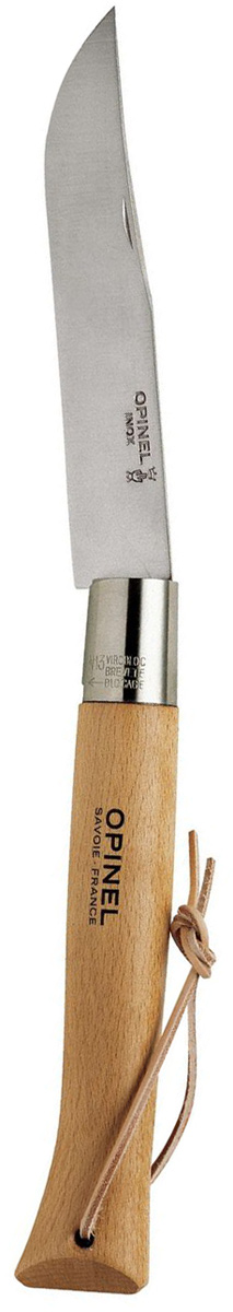 Нож Opinel le Geant n°13 нержавеющая сталь, с темляком 122136122136Нож Opinel le Geant (гигант) n°13 с лезвием из нержавеющей стали. Если Вы любите Opinel, этот нож должен быть у Вас. Большой сувернирный нож с лезвием длиной 22 см. Нержавеющая сталь не требует ухода, но ее сложнее заточить до нужной остроты. Viroblock - оригинальное запорное устройство, представляющее собой кольцо с прорезью, которое, будучи повернуто относительно оси ножа, упирается в пятку клинка и не дает ножу самопроизвольно складываться при работе или раскладываться в кармане. Конструкция эта защищена патентом и устанавливается на ножи Opinel с 1955 года, начиная с модели n°6.Характеристики ножа:Материал лезвия: сталь Sandvik 12C27Материал рукояти: букТип ножевого замка: ViroblockПриспособление для открытия клинка: насечка на лезвииДлина лезвия, см: 22Длина ножа, см: 50Ширина лезвия, см: 3,9Длина в сложенном положении, см: 27Вес, г: 390Вес ножа с упаковкой, 435