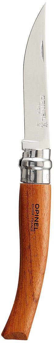 Нож Opinel филейный n°8 нержавеющая сталь 00001515Нож филейный Opinel n°8 с лезвием из нержавеющей стали. Узкое тонкое лезвие позволяет легко нарезать куски мяса, птицы или рыбы. Нержавеющая сталь не требует ухода, но ее сложнее заточить до нужной остроты. Viroblock - оригинальное запорное устройство, представляющее собой кольцо с прорезью, которое, будучи повернуто относительно оси ножа, упирается в пятку клинка и не дает ножу самопроизвольно складываться при работе или раскладываться в кармане. Конструкция эта защищена патентом и устанавливается на ножи Opinel с 1955 года, начиная с модели n°6.Характеристики ножа:Материал лезвия: сталь Sandvik 12C27Материал рукояти: бубингаТип ножевого замка: ViroblockПриспособление для открытия клинка: насечка на лезвииДлина лезвия, см: 8Длина ножа, см: 18,5Ширина лезвия, см: 1,4 Длина в сложенном положении, см: 10,5Вес, г: 30Вес ножа с упаковкой, 36