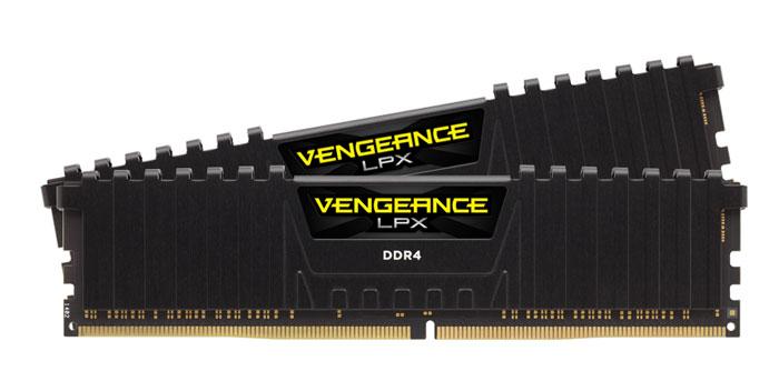 Corsair Vengeance LPX DDR4 2x16Gb 2400 МГц, Black комплект модулей оперативной памяти (CMK32GX4M2A2400C16)CMK32GX4M2A2400C16Модули памяти Vengeance LPX разработаны для более эффективного разгона процессора. Теплоотвод выполнен из чистого алюминия, что ускоряет рассеяние тепла, а восьмислойная печатная плата значительно эффективнее распределяет тепло и предоставляет обширные возможности для разгона. Каждая интегральная микросхема проходит индивидуальный отбор для определения уровня потенциальной производительности.Форм-фактор DDR4 оптимизирован под новейшие материнские платы серии Intel X99/100 Series и обеспечивает повышенную частоту, расширенную полосу пропускания и сниженное энергопотребление по сравнению с модулями DDR3. В целях обеспечения стабильно высокой производительности модули Vengeance LPX DDR4 проходят тестирование совместимости на материнских платах серии X99/100 Series. Имеется поддержка XMP 2.0 для удобного разгона в автоматическом режиме.Максимальная степень разгона ограничивается рабочей температурой. Уникальный дизайн теплоотвода Vengeance LPX обеспечивает оптимальный отвод тепла от интегральных микросхем в канал охлаждения системы, чтобы вы могли добиться большего.Vengeance LPX будет готов к появлению первых материнских плат Mini-ITX и MicroATX для памяти DDR4. Его компактный форм-фактор оптимально подходит для размещения в небольших корпусах или в системах, где требуется оставить свободным максимум внутреннего пространства.