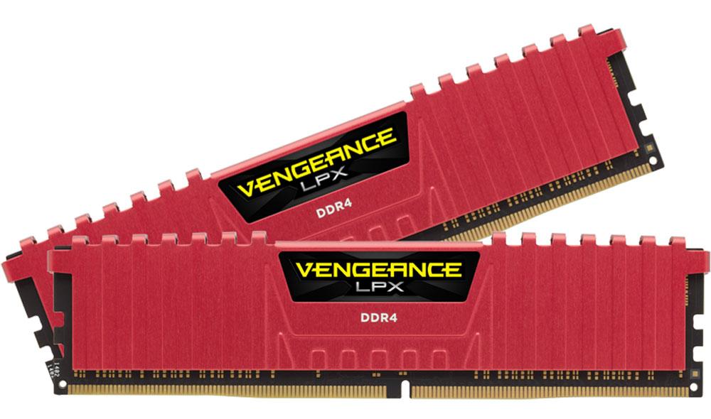Corsair Vengeance LPX DDR4 2x16Gb 2666 МГц, Red комплект модулей оперативной памяти (CMK32GX4M2A2666C16R)CMK32GX4M2A2666C16RМодули памяти Vengeance LPX разработаны для более эффективного разгона процессора. Теплоотвод выполнен из чистого алюминия, что ускоряет рассеяние тепла, а восьмислойная печатная плата значительно эффективнее распределяет тепло и предоставляет обширные возможности для разгона. Каждая интегральная микросхема проходит индивидуальный отбор для определения уровня потенциальной производительности.Форм-фактор DDR4 оптимизирован под новейшие материнские платы серии Intel X99/100 Series и обеспечивает повышенную частоту, расширенную полосу пропускания и сниженное энергопотребление по сравнению с модулями DDR3. В целях обеспечения стабильно высокой производительности модули Vengeance LPX DDR4 проходят тестирование совместимости на материнских платах серии X99/100 Series. Имеется поддержка XMP 2.0 для удобного разгона в автоматическом режиме.Максимальная степень разгона ограничивается рабочей температурой. Уникальный дизайн теплоотвода Vengeance LPX обеспечивает оптимальный отвод тепла от интегральных микросхем в канал охлаждения системы, чтобы вы могли добиться большего.Vengeance LPX будет готов к появлению первых материнских плат Mini-ITX и MicroATX для памяти DDR4. Его компактный форм-фактор оптимально подходит для размещения в небольших корпусах или в системах, где требуется оставить свободным максимум внутреннего пространства.