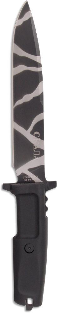 Нож охотничий Ножемир, длина клинка 18 см. H-147KH-147KИнтересный вариант тактического ножа Ножемир изготовлен по мотивам классических боевых ножей. Такой нож можно использовать для охоты или туризма, а также для тактических и страйкбольных игр. Клинок выполнен из высококачественной стали, а ручка - из эластрона. Нож оснащен пластиковыми ножами с разными вариантами подвеса: на пояс, на бедро, на снаряжение.Общая длина ножа: 31 см.Твердость стали: 55-56 HRC.