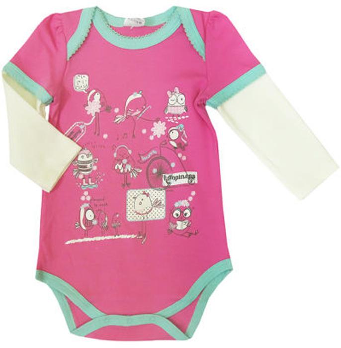 Боди для девочки Cherubino, цвет: розовый. CAN 4106. Размер 62CAN 4106Боди с длинными рукавами для девочки Cherubino изготовлено из хлопка. Модель застегивается снизу на кнопки и украшена оригинальным принтом.