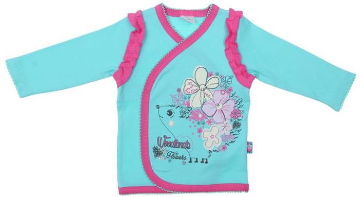 Распашонка для девочки Cherubino, цвет: бирюзовый. CAN 6962. Размер 74CAN 6962Кофточка ясельная для девочки Cherubino изготовлена из натурального хлопка. Модель застегивается на кнопки и украшена рюшами и принтом.