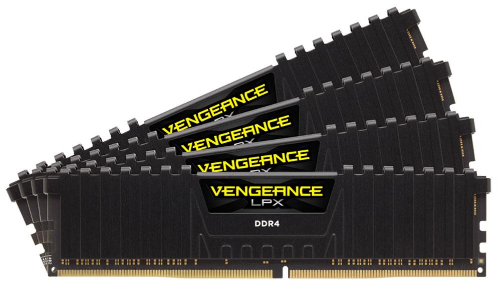 Corsair Vengeance LPX DDR4 4x8Gb 2400 МГц, Black комплект модулей оперативной памяти (CMK32GX4M4A2400C16)CMK32GX4M4A2400C16Модули памяти Vengeance LPX разработаны для более эффективного разгона процессора. Теплоотвод выполнен из чистого алюминия, что ускоряет рассеяние тепла, а восьмислойная печатная плата значительно эффективнее распределяет тепло и предоставляет обширные возможности для разгона. Каждая интегральная микросхема проходит индивидуальный отбор для определения уровня потенциальной производительности.Форм-фактор DDR4 оптимизирован под новейшие материнские платы серии Intel X99/100 Series и обеспечивает повышенную частоту, расширенную полосу пропускания и сниженное энергопотребление по сравнению с модулями DDR3. В целях обеспечения стабильно высокой производительности модули Vengeance LPX DDR4 проходят тестирование совместимости на материнских платах серии X99/100 Series. Имеется поддержка XMP 2.0 для удобного разгона в автоматическом режиме.Максимальная степень разгона ограничивается рабочей температурой. Уникальный дизайн теплоотвода Vengeance LPX обеспечивает оптимальный отвод тепла от интегральных микросхем в канал охлаждения системы, чтобы вы могли добиться большего.Vengeance LPX будет готов к появлению первых материнских плат Mini-ITX и MicroATX для памяти DDR4. Его компактный форм-фактор оптимально подходит для размещения в небольших корпусах или в системах, где требуется оставить свободным максимум внутреннего пространства.