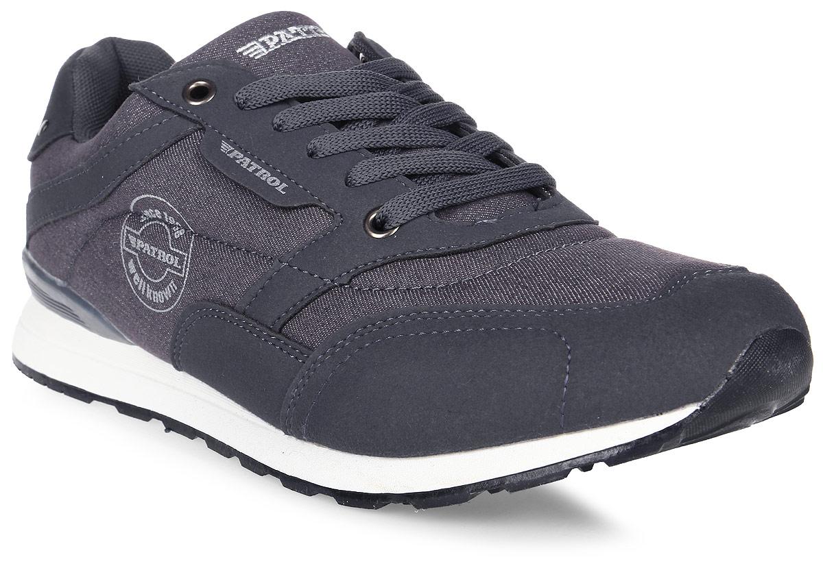 Кроссовки мужские Patrol, цвет: темно-серый. 421-104T-17s-8-43. Размер 42421-104T-17s-8-43Стильные мужские кроссовки от Patrol не оставят вас равнодушным! Модель лаконичного дизайна выполнена из текстиля и оформлена эмблемой с названием бренда. Классическая шнуровка на подъеме гарантирует оптимальную посадку обуви на ноге. Мягкая текстильная стелька и подкладка обеспечат комфорт при носке и исключат натирание. Прочная и легкая подошва из ТЭП-материала, дополненная рифлением, обеспечит идеальное сцепление с любой поверхностью. Удобные кроссовки - отличное решение на каждый день для тех, кто ведет активный образ жизни.