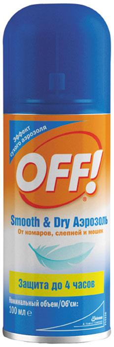 """Инновационный продукт OFF! """"Smooth & Dry"""" создан по новой технологии, с эффектом """"сухого"""" аэрозоля. Средство попадает на кожу в виде мельчайших частиц, мгновенно высыхая и не оставляя неприятных ощущений. Действие начинается сразу же после нанесения и продолжается до 4-х часов."""