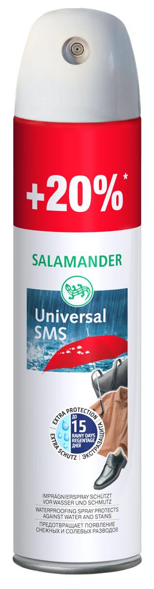 Пропитка водоотталкивающая Salamander Universal SMS для гладкой кожи, замши и текстиля, 300 мл646302Пропитка водоотталкивающая Salamander Universal SMS эффективно защищаетизделия из гладкой кожи, замши и текстиля от влаги и грязи. Предотвращаетобразование снежных, водных и солевых разводов. Не пригодна для лаковой кожи! Объем: 300 мл. Состав: более 30%: алифатические углеводороды (Алканы, циклоалканы, бутан, пропан), изопропиловый спирт, фторуглеродный полимер.Товар сертифицирован.