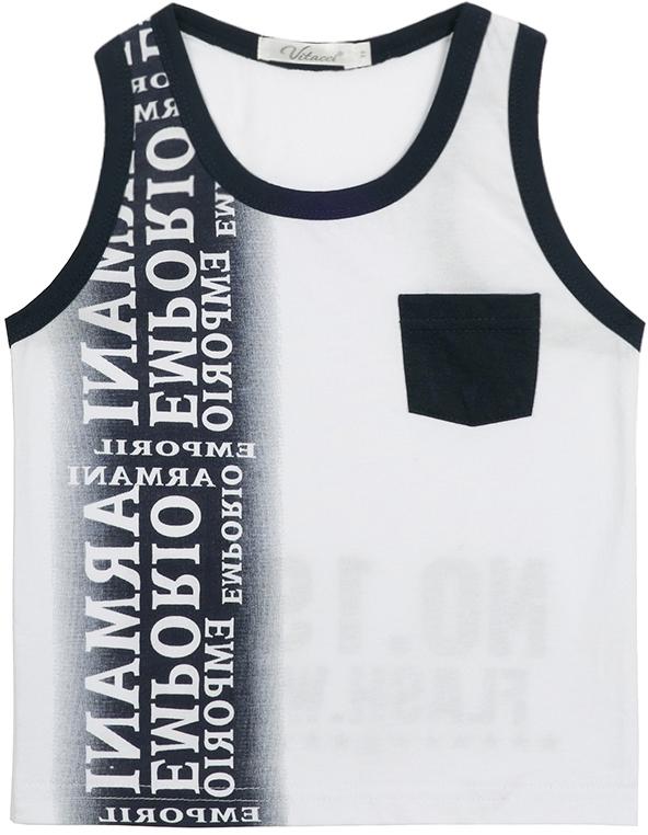 Майка для мальчика Vitacci, цвет: белый. 1172023-01. Размер 1161172023-01Майка для мальчика, декорирована карманом и надписями. Хорошо подходит к шортам.