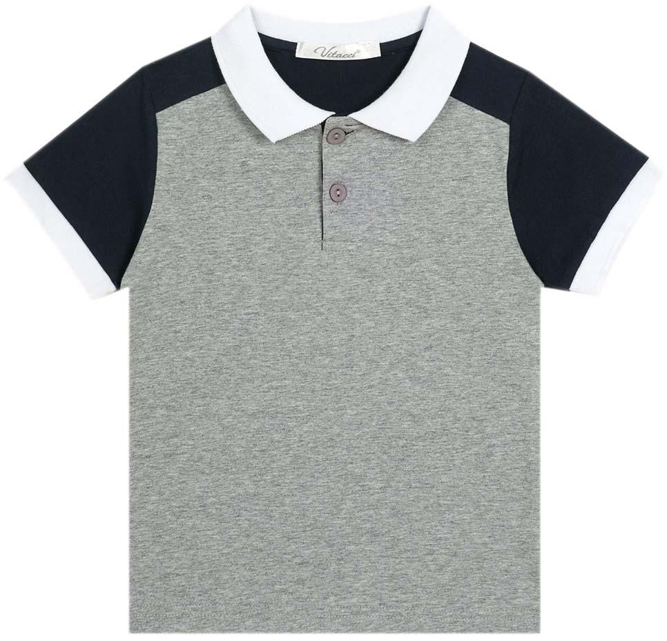 Поло для мальчика Vitacci, цвет: серый. 1172025-02. Размер 981172025-02Модная футболка-поло для мальчика из качественного трикотажа. Контрастные детали придают изделию оригинальный вид.
