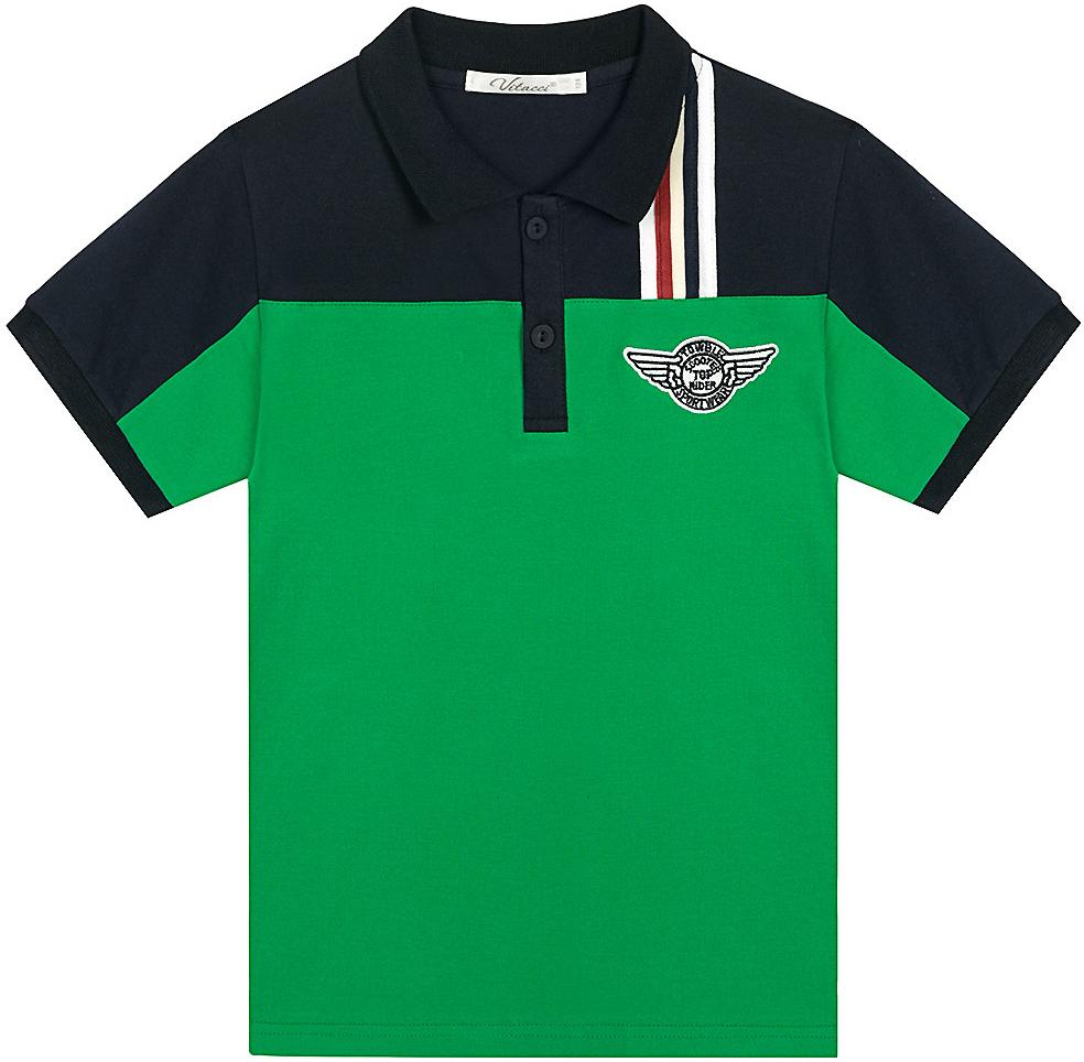 Поло для мальчика Vitacci, цвет: зеленый. 1172027-06. Размер 1041172027-06Оригинальная футболка-поло для мальчика. Сочетание двух контрастных цветов, декоративная нашивка на полочке изделия и эмблема делают данную модель модной и актуальной.