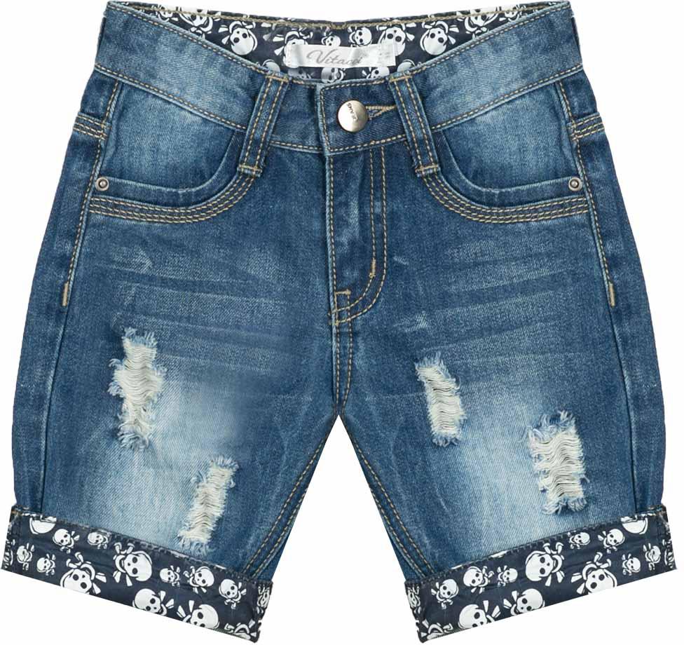 Шорты для мальчика Vitacci, цвет: синий. 1172051-04. Размер 1221172051-04Всегда актуальные джинсовые шорты для мальчика, классическая длина и оригинальные отвороты контрастного цвета делают модель модной и удобной.
