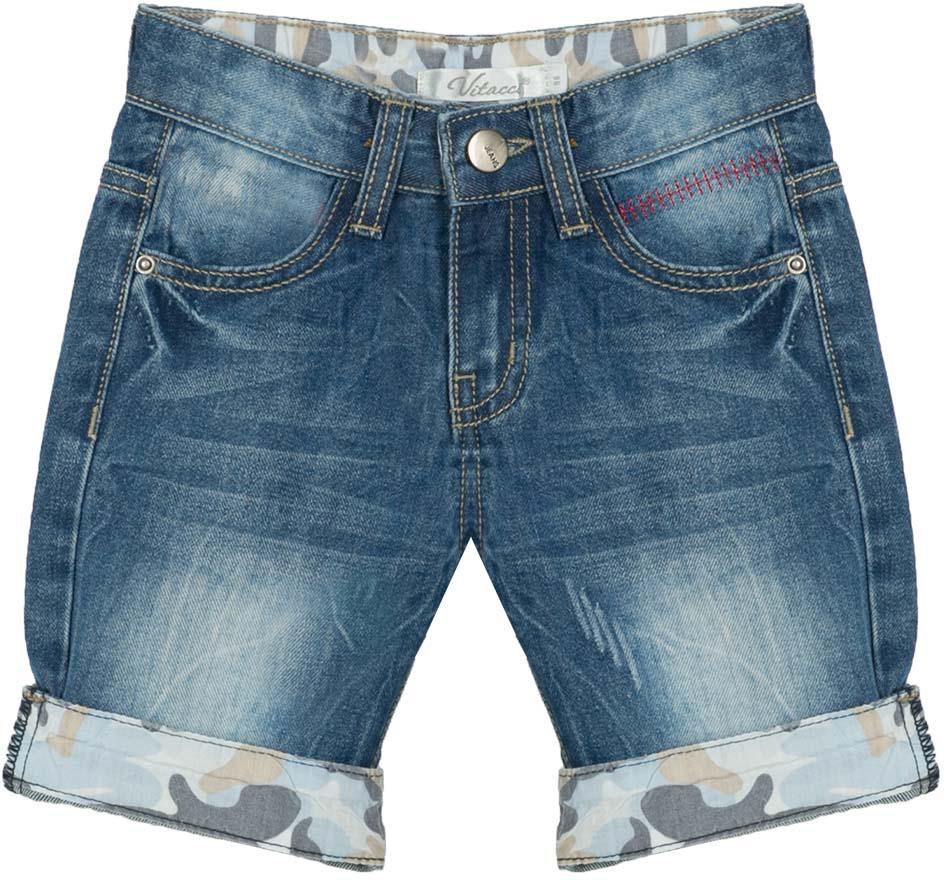 Шорты для мальчика Vitacci, цвет: синий. 1172053-04. Размер 1281172053-04Всегда актуальные джинсовые шорты для мальчика, классическая длина и оригинальные отвороты контрастного цвета делают модель модной и удобной.