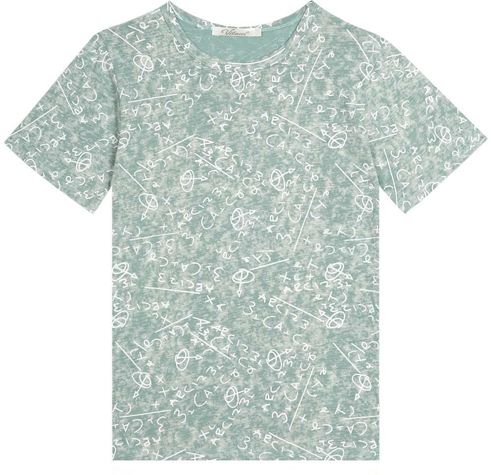 Футболка для мальчика Vitacci, цвет: голубой. 1172069-10. Размер 1521172069-10Оригинальная футболка для мальчика с круглым вырезом горловины и короткими рукавами.